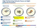 high performing schools focus on eight powerful practices