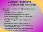 culturally responsive curriculum and instruction