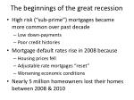 the beginnings of the great recession