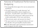 failures of traditional performance budgeting