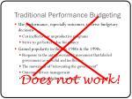 traditional performance budgeting