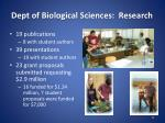 dept of biological sciences research
