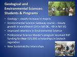 geological and environmental sciences students programs