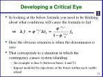 developing a critical eye