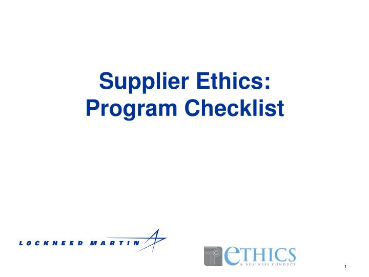 supplier ethics program checklist n.