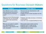 questions for business decision makers