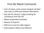 first qtr match comments
