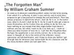 the forgotten man by william graham sumner