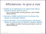 affordances to give a clue
