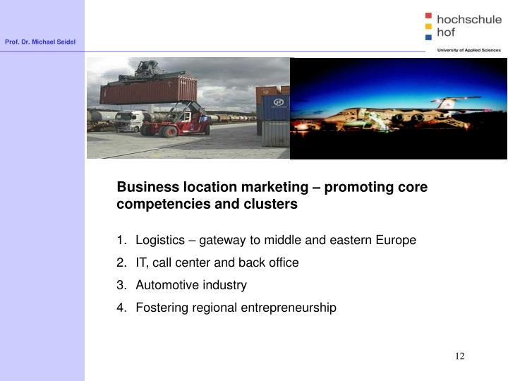 Business location marketing – promoting core competencies and clusters