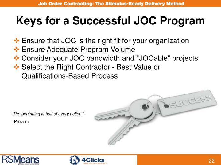 Keys for a Successful JOC Program