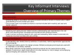 key informant interviews overview of primary themes