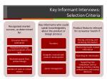 key informant interviews selection criteria