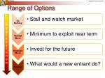range of options