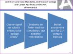 common core state standards definition of college and career readiness and parcc the potential