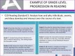 example of grade level progression in reading