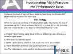 incorporating math practices into performance tasks