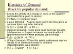 elasticity of demand back by popular demand