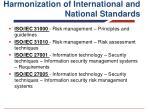 harmonization of international and national standards
