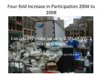 four fold increase in participation 2004 to 2008