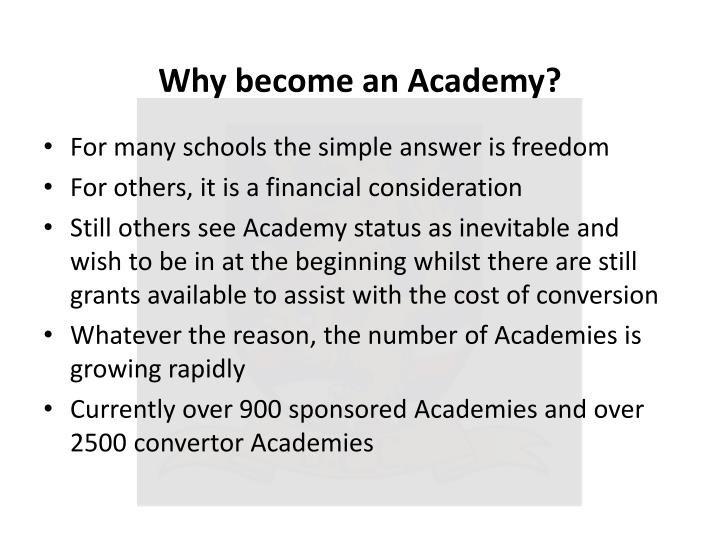 Why become an Academy?