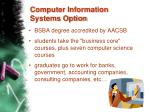 computer information systems option