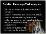 detailed planning task analysis