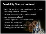 feasibility study continued