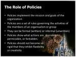 the role of policies