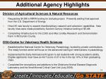 additional agency highlights