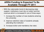 arra funding is expected to be available through fy 2011