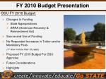 fy 2010 budget presentation