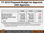 fy 2010 proposed budget for approval osu agencies