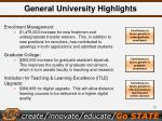 general university highlights
