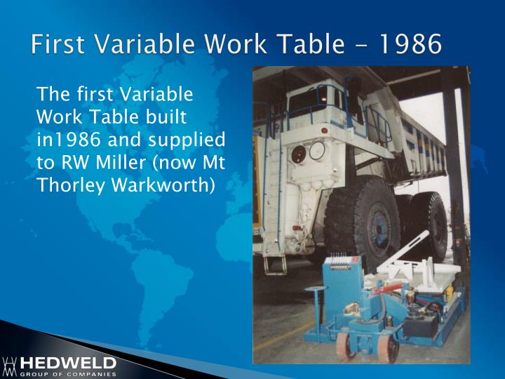 First variable work table 1986