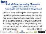 phil mccaw incoming chairman angel association of new zealand