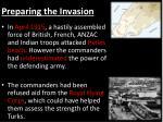 preparing the invasion