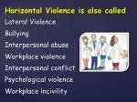 horizontal violence is also c alled