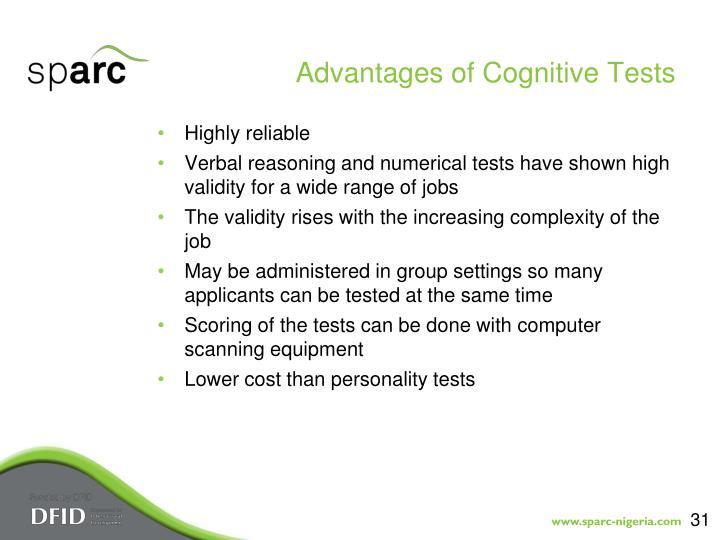 Advantages of Cognitive Tests