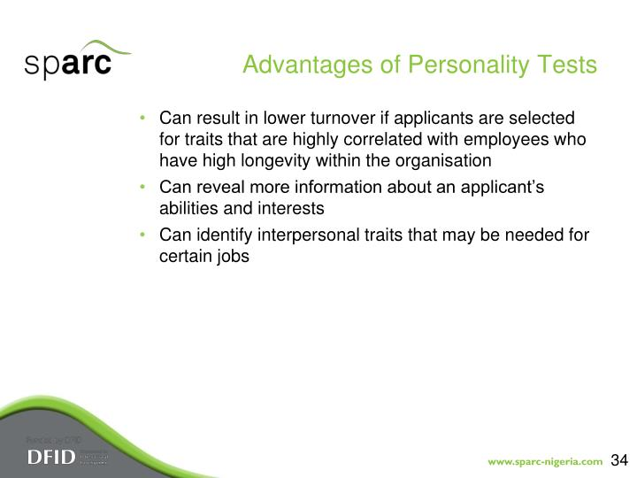 Advantages of Personality Tests