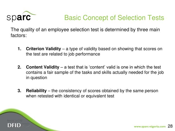 Basic Concept of Selection Tests