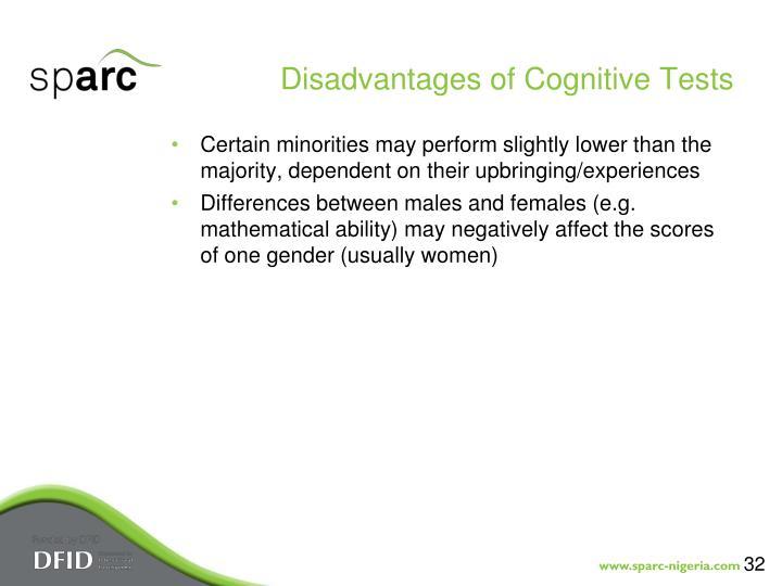 Disadvantages of Cognitive Tests