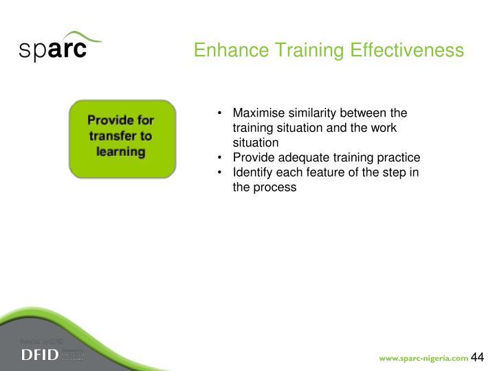 Enhance Training Effectiveness