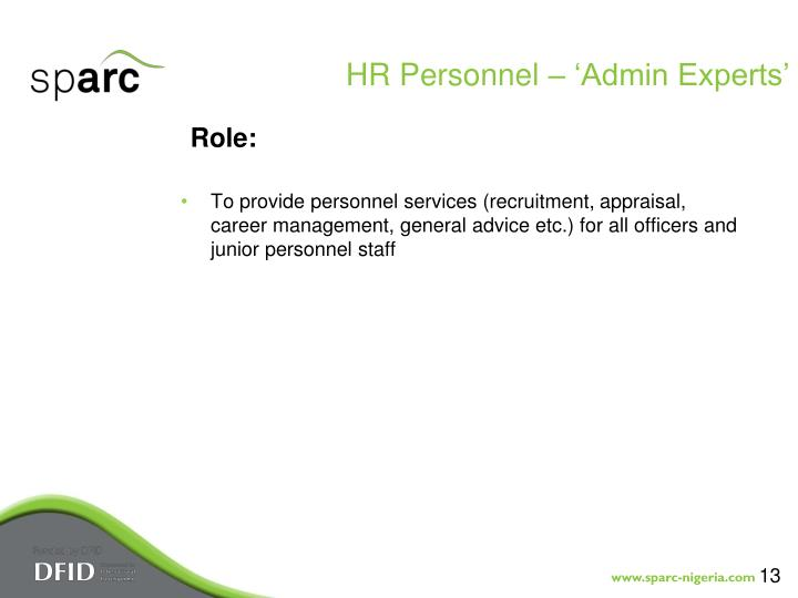 HR Personnel – 'Admin Experts'