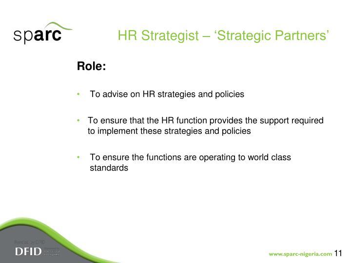 HR Strategist – 'Strategic Partners'