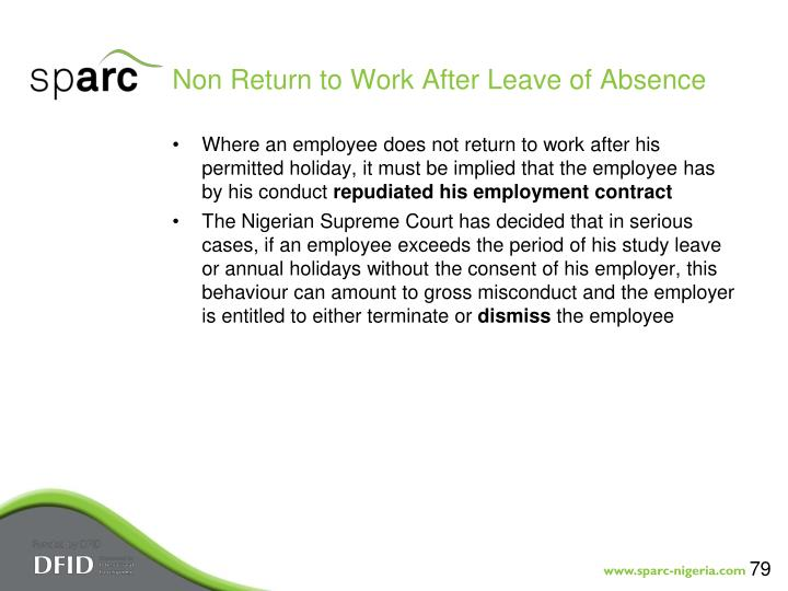 Non Return to Work After Leave of Absence