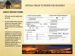 critical fields to review for accuracy