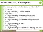 common categories of assumptions