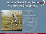 what a great time to be promoting bicycling