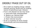 orderly phase out of oil